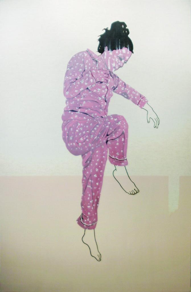 La chute, 2012. Cat Plourde.Peinture sur toile. 183 cm x 122 cm. © L'Artothèque