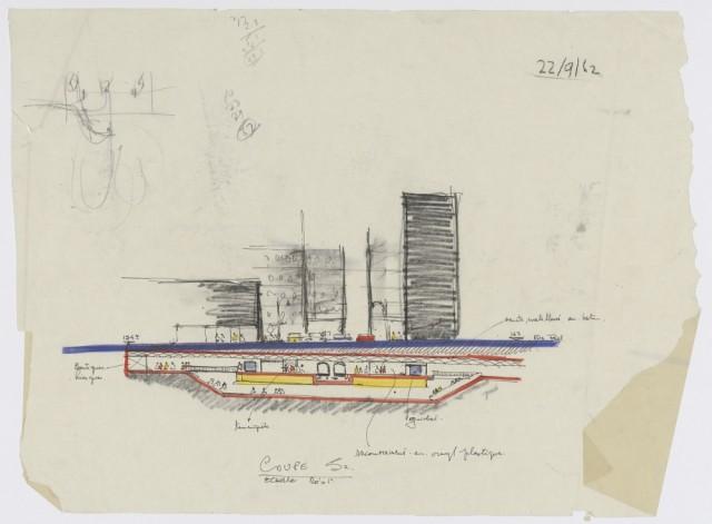 Station de métro Peel Coupe ©Source : BAnQ- Fonds PGL Architectes : 06M_P193S1_1983-05-049_122_06