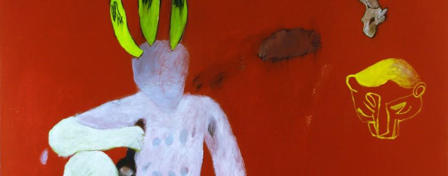 Grimace impolie,2006. Martine Savard. Peinture sur toile. 122x 122 cm.