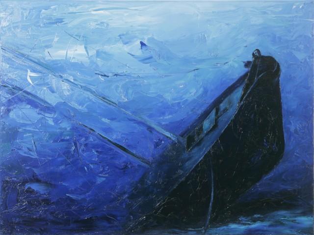 Dévoilé, 2010. Sonya Kertesz. Peinture sur toile. 76.2 x 101.6 cm. © L'Artothèque