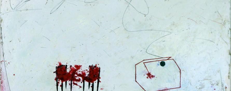 Des dialogues incompris entre B et A, 2012. Oscar Danilo Vargas. Peinture sur toile. 61 x 61 cm. © L'Artothèque