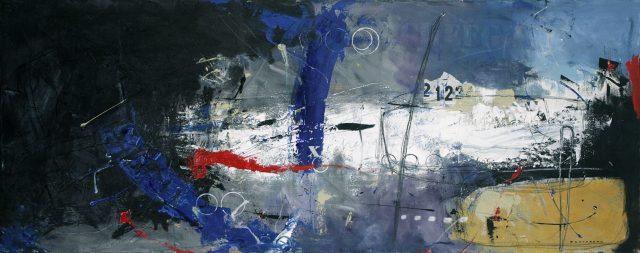 Le glacier se rapproche, 2012. Gérard Dansereau. Peinture, collage, dessin. 60,96 x 152,4 cm. © L'Artothèque