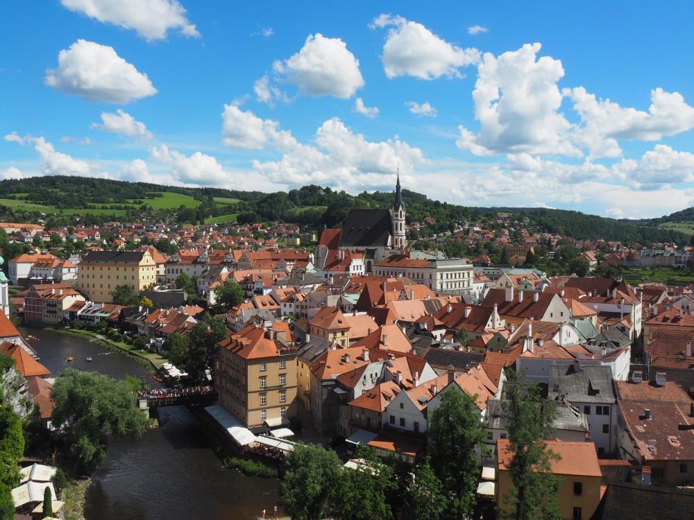 Vue de la ville médiévale de Český Krumlov. Photo: Marie-Julie Gagnon