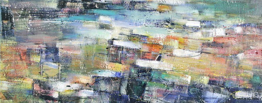 Chant de la Terre, 2013, Rémi Filion. Peinture sur toile. 101.7 x 162.7 cm. © L'Artothèque