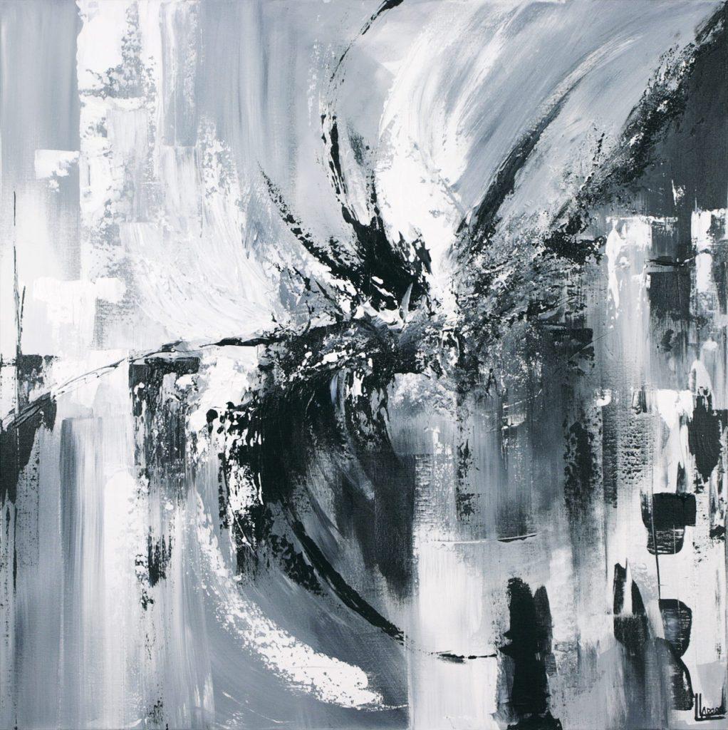 Nycta, 2014. Louise Larose. Techniques mixtes sur toile. 92 x 92 cm. © L'Artothèque