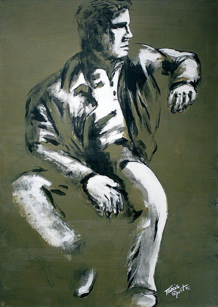 Le banc public, 1992. Francis Pâquet. Acrylique sur toile. 122 cm x 86 cm. © L'Artothèque