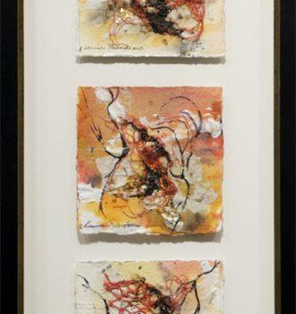 L'envol, Louise Riendeau. Techniques mixtes sur toile. 56.7cm x 26.5cm. © L'Artothèque