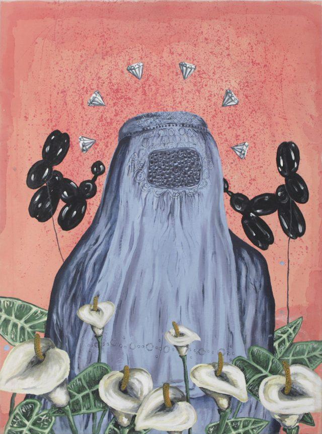 Sans titre (Burqa bleue), 2014. Charline P. William. Acrylique sur toile. 122 x 92 cm. © L'Artothèque