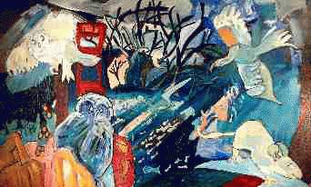 Voltige nocturne no.3, 2000. Marjorie Lemay. Techniques mixtes sur toile. 91cm x 152cm. © L'Artothèque