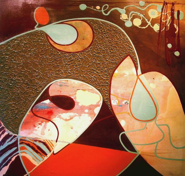 Attente, 2005. Sonia Paradis. Techniques mixtes sur toile. 91,5cm x 91,5cm. © L'Artothèque