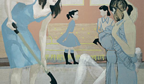 Savoir se taire, 2012. Marianne Pon-Layus. Acrylique et huile sur bois. 76,2 cm x 76,2 cm. © L'Artothèque