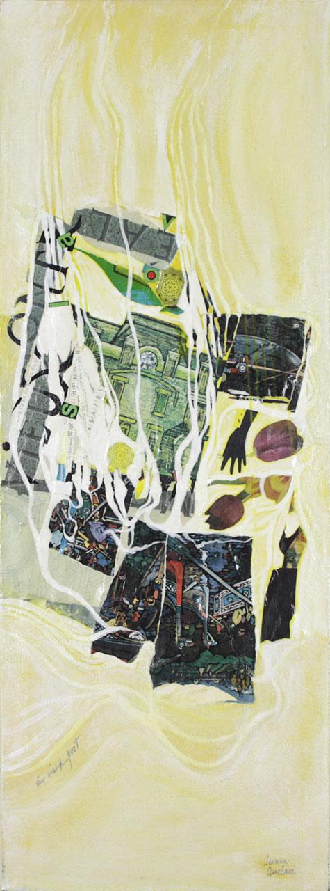 Au vieux port, 1996. Jeanne Auclair. Techniques mixtes sur toile. 129,5 cm x 48,5 cm. © L'Artothèque. Tous droits réservés.