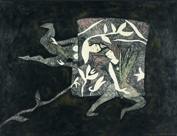 Danse à l'oiseau, 2003. Ginette Brassard. Techniques mixtes sur toile. 50,5 cm x 66 cm. © L'Artothèque