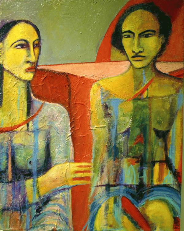 La réconciliation II, 2011. Marie-Marcelle Vézina. Techniques mixtes sur toile. 70,8 cm x 55,5 cm. © L'Artothèque