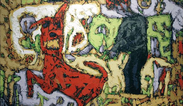 Le chien de la jardinière jouant ... , Bauçan. 2000. Acrylique sur toile. 96,5 cm x 122 cm. © L'Artothèque