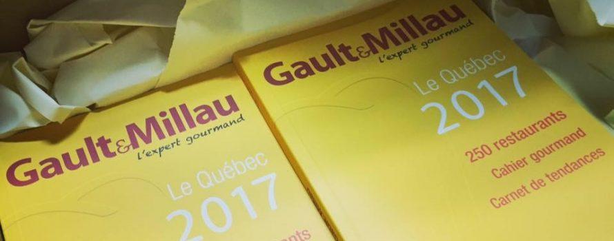 Le guide Québec 2017 de Gault * Millau. Photo: Facebook Gault&Millau Canada.