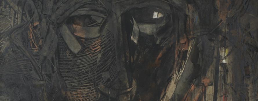 Derrière la façade, 2013. Hassane Amraoui. Huile sur papier. 125 x 140 cm. © L'Artothèque
