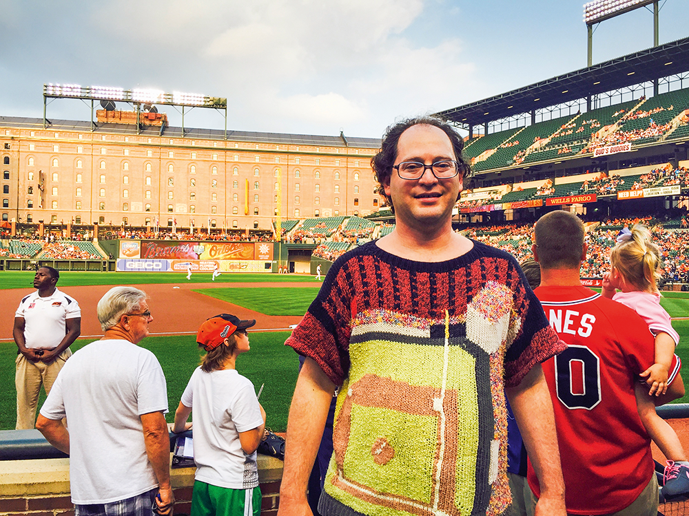 Camden Yards jumper worn inside Oriole Park at Camden Yards, the local baseball stadium. Photo: Sam Barsky.