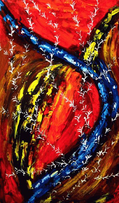 Intrus sur le chemin, 2009. Manon Morissette. Acrylique sur toile. 107,5 cm x 63,5 cm. © L'Artothèque