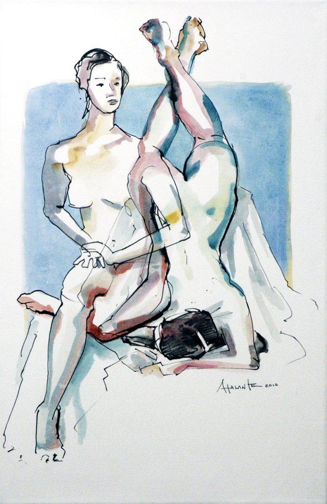 De l'épaule au genou, Atalante, 2010. Encre noire et aquarelle sur papier marouflé sur toile. 50,8 x 33 cm. © L'Artothèque