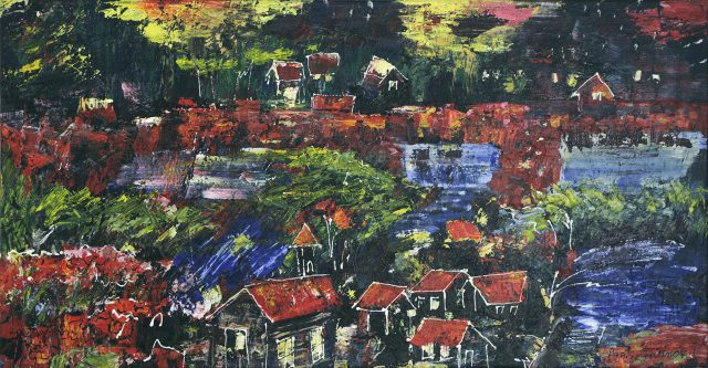 Tout... ou presque en rouge, 2007. Agathe Boivin. Acrylique sur toile. 61 x 117 cm. © L'Artothèque