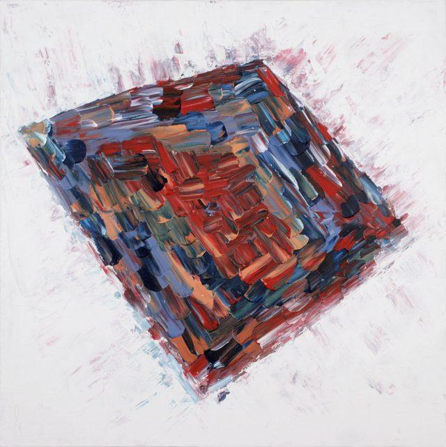 Kit 2016. Heidi Cardyn. Acrylique sur toile. 91 x 91 cm. © L'Artothèque
