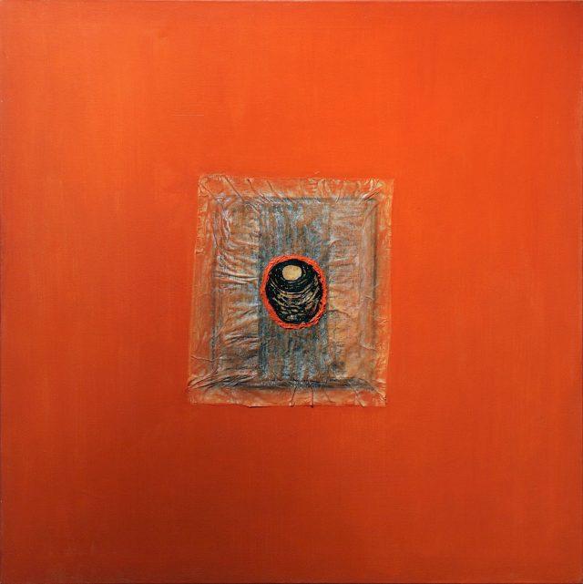 Nid sur fond orange, Francine Migner. 2006. Techniques mixtes sur toile. 91,3 x 91,3 cm. © L'Artothèque
