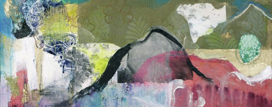 Serpentine Rivers, Inky Hills, 2010. Margaret Stuart. Techniques mixtes sur toile. 60,7 cm x 122 cm. © L'Artothèque