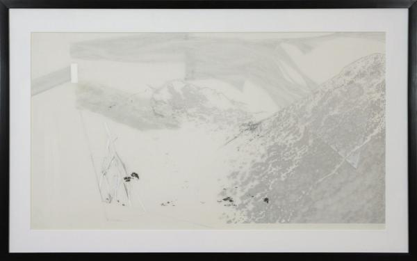 Halde 9, 2012. Cara Déry. Impression numérique, graphie et crayon de bois sur feuille de papier Mylar. 65 x 105 cm. © L'Artothèque