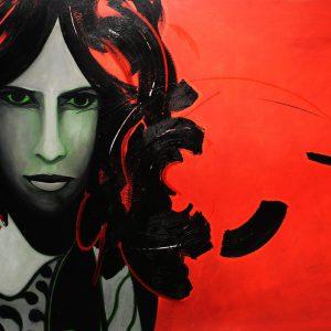 Rock star 80, Caroline Morneau. 1971. Acrylique sur toile. 102 x 183 cm. © L'Artothèque
