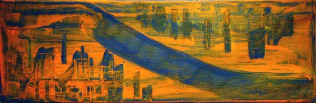 Montréal Ville-Marie, amont de la civilisation, Christophe Lemière. 2006-2010. Acrylique sur toile. 26,5 cm x 81 cm. © L'Artothèque