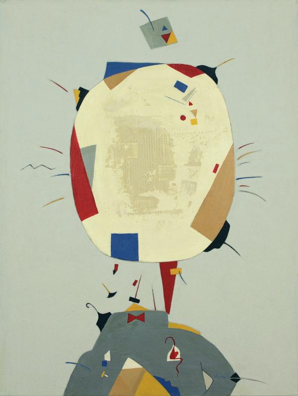 Lady and Gentleman in Primary Colours 1, 2015. Anaït Abramian. Acrylique sur toile. 102 x 76 cm.© L'Artothèque