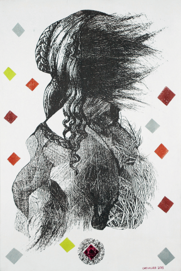 Rosalie, Marianne Chevalier, 2013, collage imprimé en sérigraphie sur bois, 50,8 x 76,2 cm © L'Artothèque