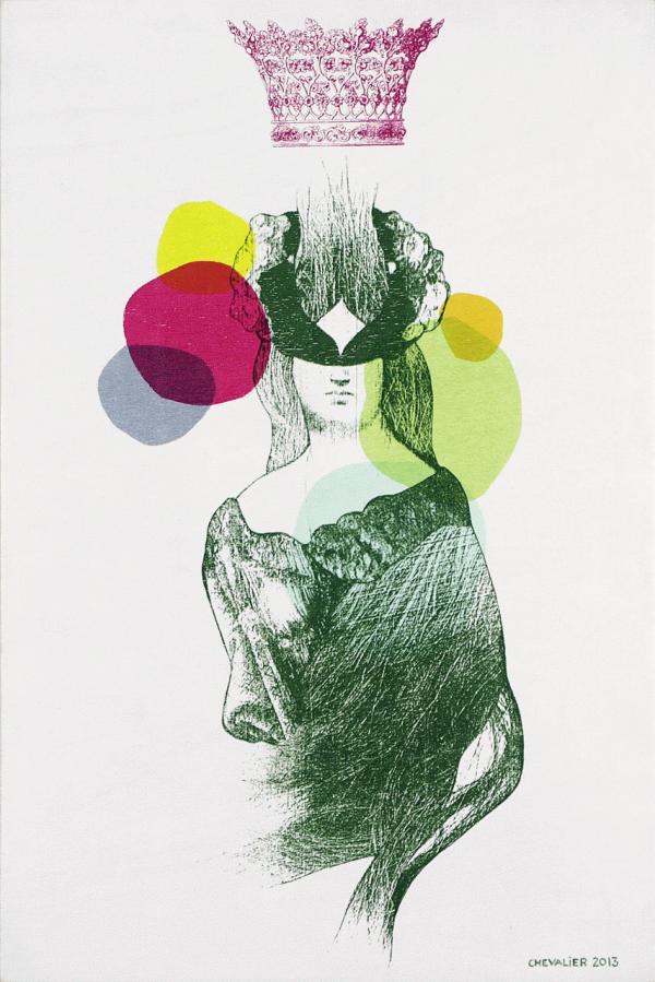 Céleste, 2013, Marianne Chevalier. Sérigraphie et collage sur bois. 41 cm x 61 cm. © L'Artothèque