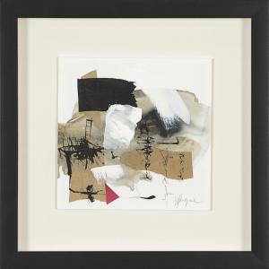 Ironie 1, 2016. Hélène Longval. Techniques mixtes et peinture sur papier. 31 x 31 cm. © L'Artothèque