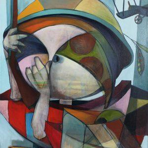 Vol d'olive, 2016. Sébastien Borduas. Acrylique sur toile. 122 x 92 cm. © L'Artothèque