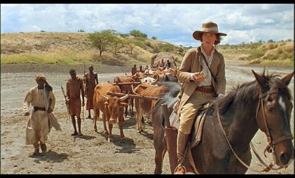 Meryl Streep dans Out of Africa. Les paysages Africains sont un des personnages de ce film culte.