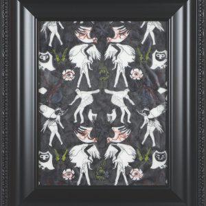 En drake och varelser fran Klingavalsan 2, 2016. Marianne Pon-Layus. Encre et gouache sur papier vellum. 50 x 42 cm. © L'Artothèque