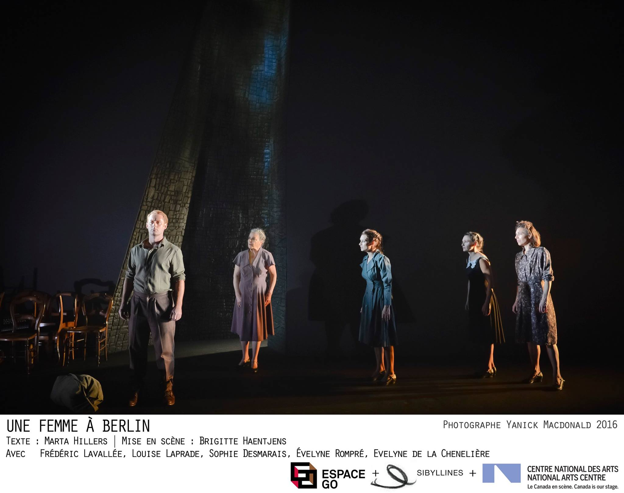 Photo: Yannick MacDonald Page Facebook Espace Go Une femme à Berlin, une pièce de Marta Hillers, Mise en scène de Brigitte Haens Jens