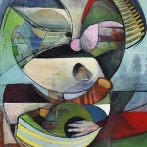 Trafiquant d'olive, 2016. Sébastien Borduas. Acrylique sur toile. 122 x 92 cm. © L'Artothèque