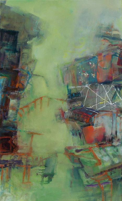 Les deux côtés, 2011. Anne-Laure Djaballah. Huile sur toile. 76 x 122 cm. © L'Artothèque