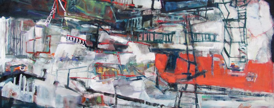Snakes and ladders, 2011, Anne-Laure Djaballah. Huile sur toile, 122 x 153 cm. © L'Artothèque