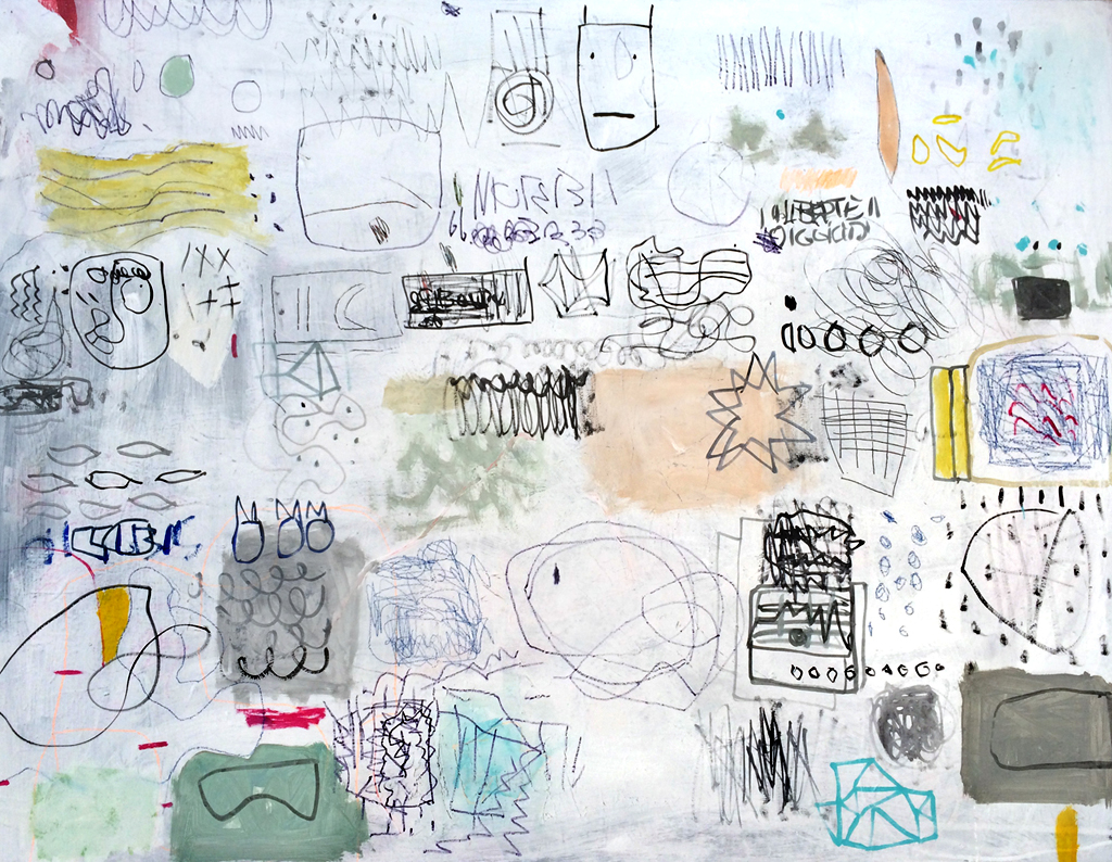 Mariage blanc, Diane Desrochers. 2017. Acrylique et techniques mixtes sur toile. 76,2 x 101,6 cm. © L'Artothèque. Tous droits réservés