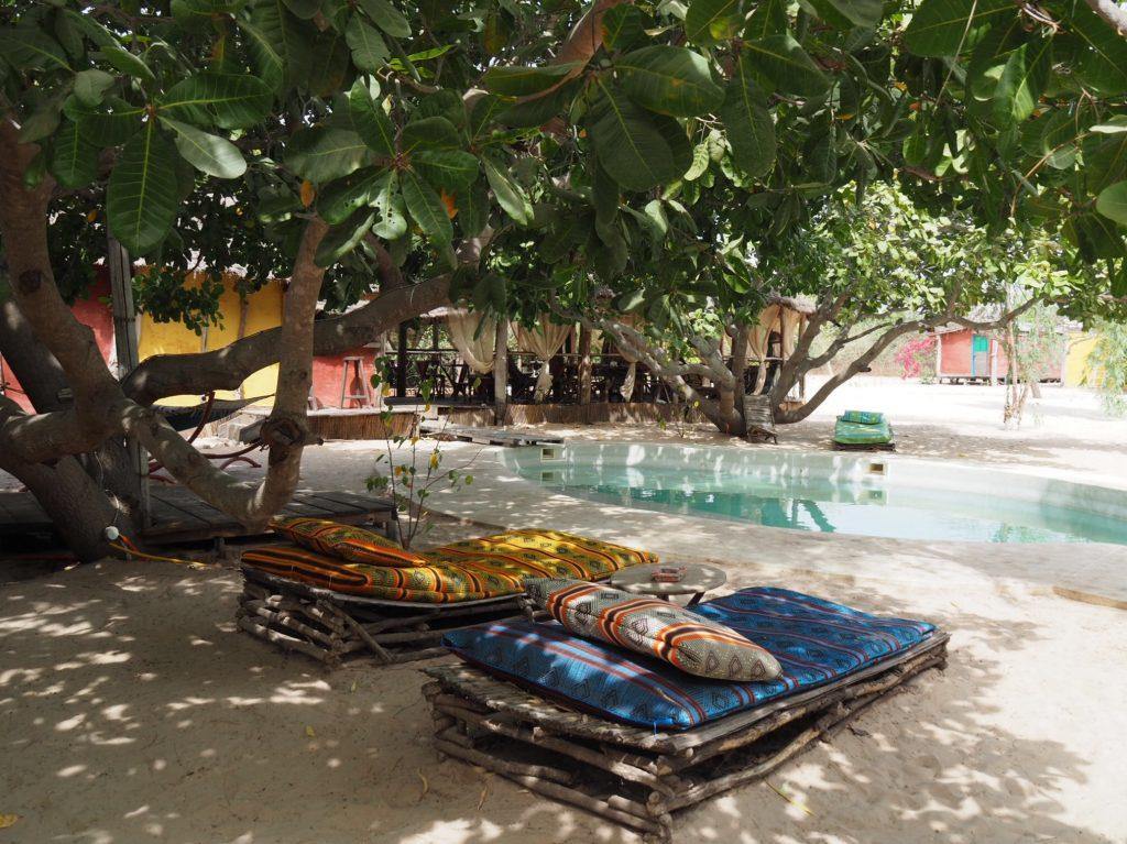 Le Bonobo Lodge unique hôtel de l'île de Kathior, dans le parc du delta du Saloum. Photo: Marie-Julie Gagnon