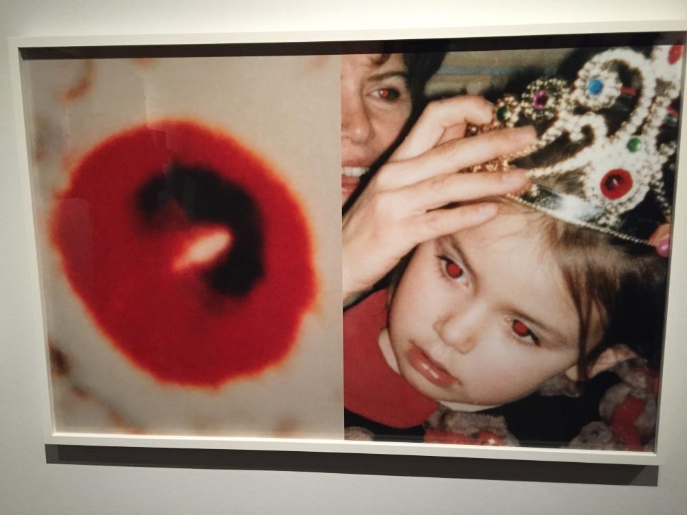 Avec Michel Campeau, une photo avec des yeux rouges est récupérée pour en faire un diptyque digne du pop art. Photo: Claude Deschênes