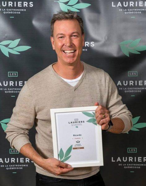 Ricardo, gagnant du Lauréat dans la catégorie Choix du public. Photo: Facebook Les Lauriers de la Gastronomie Québécoise