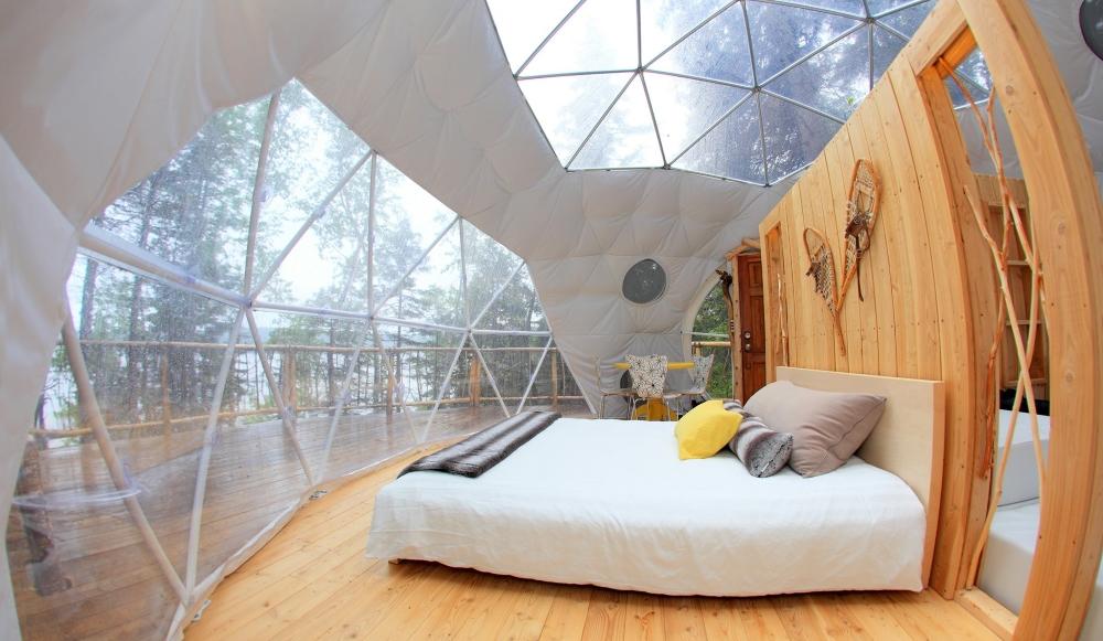 Le Dôme est un hébergement insolite proposé au Parc Aventures Cap Jaseux. Photo: Facebook Parc Aventures Cap Jaseux