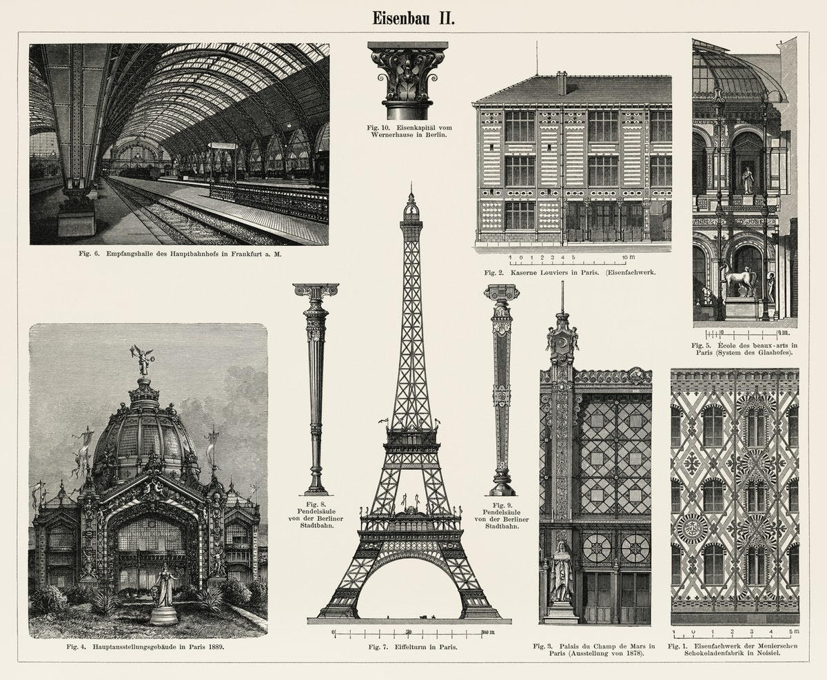 Cast - Iron Architecture (1894), une collection de motifs architecturaux en fer, notamment la Tour Eiffel. Photo: Rawpixel